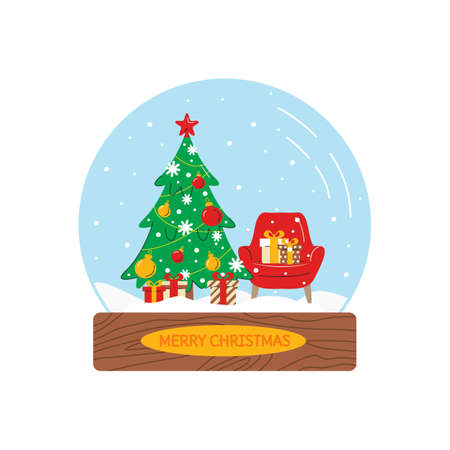 Vector illustration of snow globe with christmas tree, armchair and gifts. Glass ball with holiday related interior in flat linear style. Merry and magical winter atmosphere. Design element isolated 向量圖像