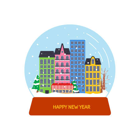 Urban scene with classic houses and snowfall in snow globe