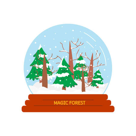 Vector illustration of snow globe with forest on stand isolated. Cute colorful design element of Christmas attribute in flat linear style. Winter season. Magic present, gift with falling snowflakes
