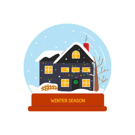Vector illustration of house with christmas lights in snowfall season isolated. Snow globe with outdoor scene in winter. Snowball in flat linear style. Cute design elements of home related objects 向量圖像