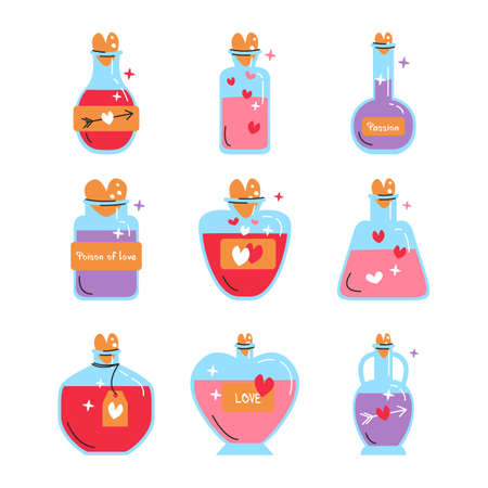 Vector illustration of magic love jars collection isolated. Set of bottles with potions in flat linear style. Alchemy beverage, elixir with variety tinctures. Design elements for Saint Valentine's day