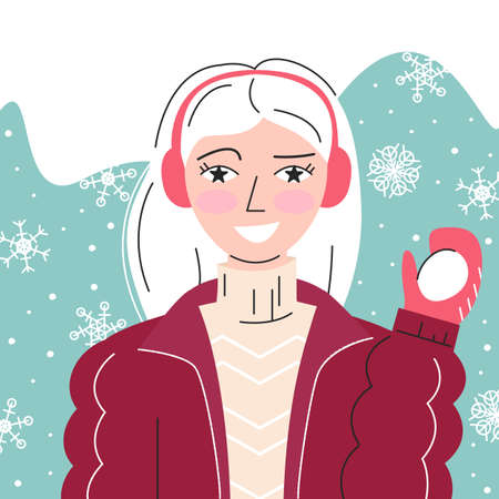 Portrait of playful white hair girl with snowball in hand. Avatar of young woman with rosy cheeks in winter coat and fur earmuffs on abstract background with snowfall.