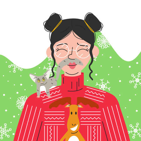 Portrait of cute asian girl with senegalese galago on her shoulder. Funny young woman with messy buns in ugly sweater and glasses on abstract background with snowflakes. Vector flat illustration
