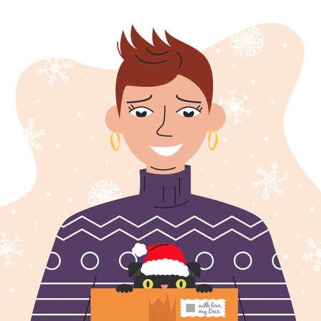 Portrait of handsome girl holding a box with cat. Young short-hair woman in sweater with gift on abstract background with snowflakes. Avatar for social networks.