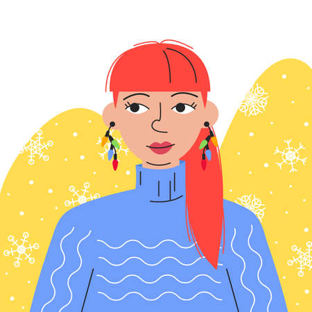Portrait of red-hair woman with festive earrings in blue sweater. Beautiful girl on abstract background with snowfall. Christmas lights as bijouterie or imitation jewelry.