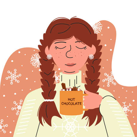 Portrait of adorable girl with freckles and braids holding hot chocolate. Young woman in cozy sweater on abstract background with snowflakes. Winter warm atmosphere.