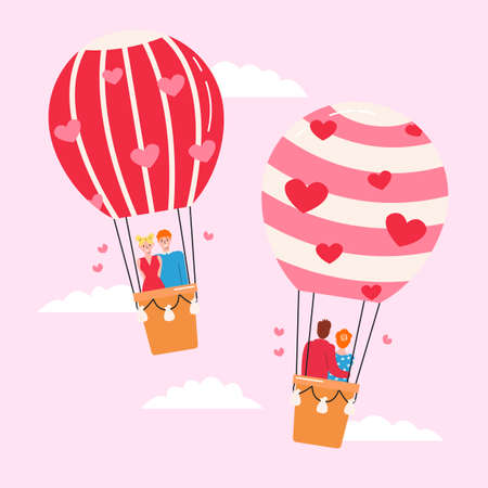 Two air balloons with beloved couples fly in sky on pink background. Design concept of enamored people for St. Valentines day. Love greeting card. Vector flat illustration with cute characters hugging