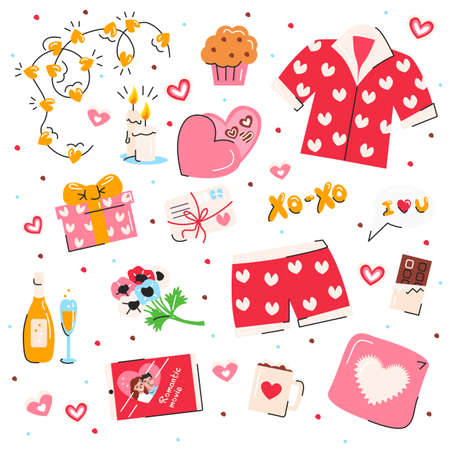 Valentine's day symbols set isolated on white background. Cute elements usable for stickers, pins. Colorful love objects. Template for greeting, congratulations, invitations. Vector flat illustration