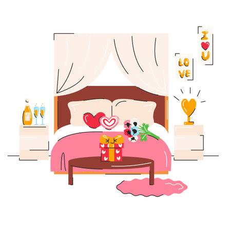 Romantic hotel living room with cute love symbols. 向量圖像
