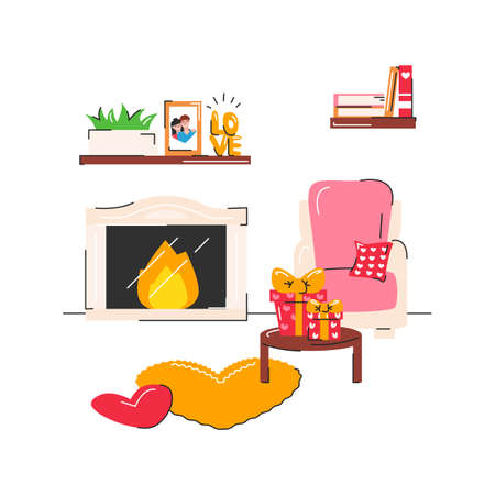 Valentine's day cozy cute interior with fireplace isolated. Romantic place with gift and heart shape things. Celebration at home. House related objects, armchair, bookshelf. Vector flat illustration 向量圖像