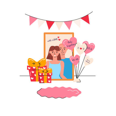 Vector illustration of couple portrait with gifts, heart shape balloons, garland and carpet. Greeting card design for Saint Valentine's day. Festive elements with characters isolated. Holidays present