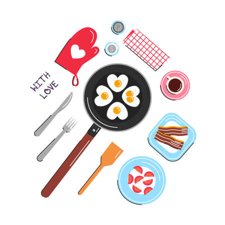 Vector illustration of heart shape fried eggs on black pan with coffee cup, bacon, tomato, salt, pepper, cutlery, potholder, napkin isolated. Flat love concept design for Valentines day. Greeting card 向量圖像