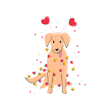 Labrador with fun heart shape headband for Saint Valentine's day. Cute dog in lights garland and broken ornament. Love symbol and puppy isolated. Print graphic element. Vector flat linear illustration