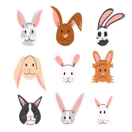Easter bunny, rabbit faces isolated on white background. Set of cute cartoon animals. Hare breed collection. Design elements for religious holiday, graphic print. Vector flat linear illustration 向量圖像