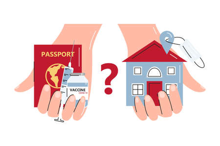 Abstract concept of travel possibility with vaccination campaign. Hands holding foreign passport, syringe, vaccine and your house location with mask. Make choice. Vector flat line illustration isolated 向量圖像