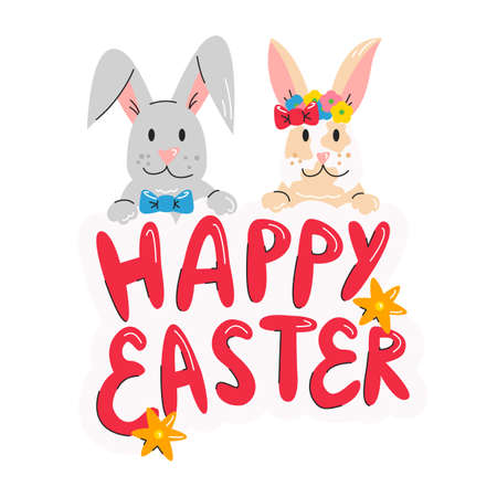 Happy Easter design with cute bunnies and hand drawn lettering for poster, banner, flyer, invitation, greeting cards isolated. Design element concept, seasonal print. Vector flat linear illustration