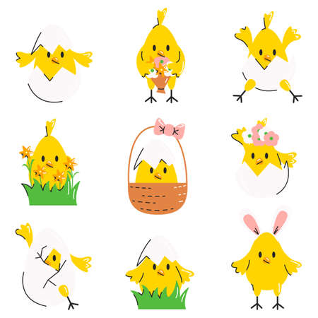 Funny cute easter chicks, eggs, flowers and basket. Collection of little chicken in different poses. Yellow happy bird set. Design elements, stickers, pin isolated. Vector flat cartoon illustration 向量圖像