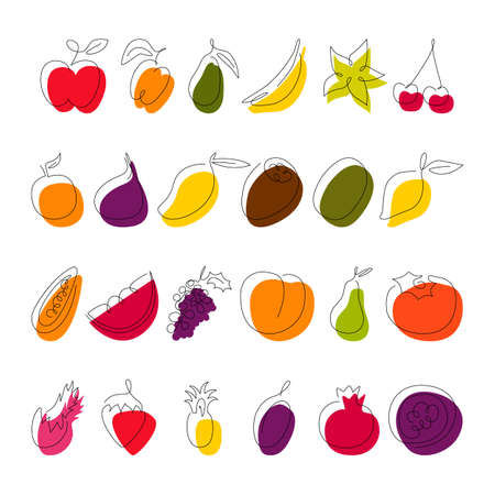 Fruit continuous line drawing collection isolated on white. Simple single outline sketch and color block. Food vegan design elements. Vector minimalistic flat contour illustration made of one line