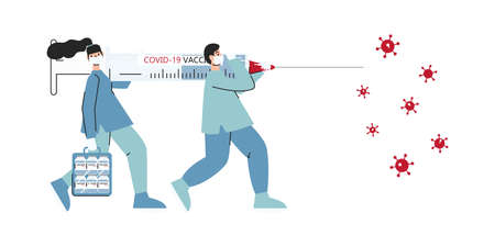 Doctors with big syringe and case with vaccine running to fight with coronavirus. Vaccination campaign. Cure and treatment for COVID-19 infection. Healthcare, medical team. Vector flat illustration 向量圖像