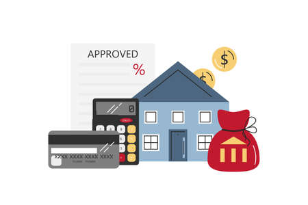 Vector flat mortgage concept with objects isolated on white. Graphic elements of buying house, real estate: house, calculator, credit, approved mortgage application. Property money investment contract
