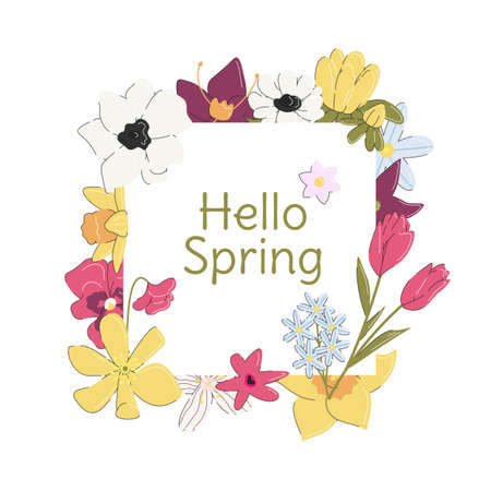 Hello spring banner with colorful flowers and font isolated. Greeting card of springtime. Square template, graphic element design. Botanical and floral decoration. Vector flat linear illustration 向量圖像