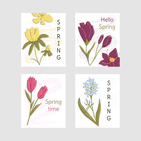 Spring greeting card collection on gray background. Vertical banner set with tulip, crocus, aconite and puschkinia. Springtime coming designs. Graphic templates. Vector flat linear illustration