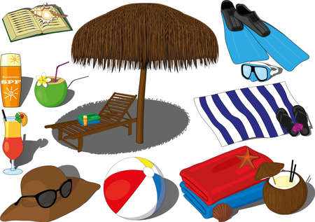 Summer beach sea weekend vacation recreation vector. Hot summer relaxation, ocean rest, coconut and beach cocktail, coconut water, flippers and swimming gogles, sunbed with a sun umbrella, beach towel Ilustración de vector