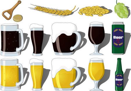 International beer day illustration vector set containing light and dark beer, beer mug, goblet, glass, bottle and can. Set with beer opener, beer cap, hop, malt and barley