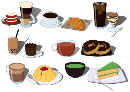 Cake and drink dessert and beverage tasty and sweet vector illustration set including coffee, tea and hot chocolate. Beautiful dessert.