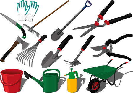 Garden farm kaleyard tools vector set, summer working, olericulture, orchardin, pomiculture, fruit-growing, vegetable-growing, plant care, growing flowers using tools like