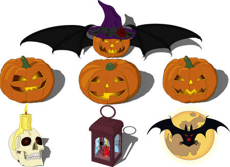 Halloween All Hallows` Eve All Saints` Eve illustration vector set with smiling nightmare pumpkin lamps, skull and candle, spider, spider net, full moon and bat, pumpkin with wings and in witch`s hat Vectores