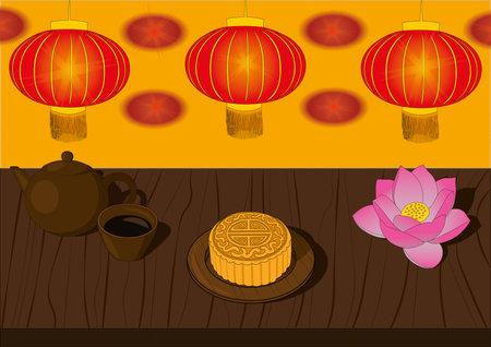 Mid autumn festival asian moon festival celebrating vector illustration. Mooncake, tea, lotus and lantern illustration Vectores