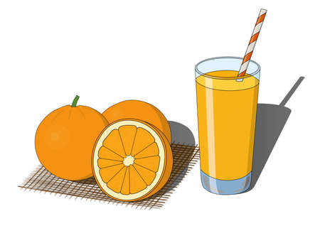 Glass of orange juice and whole and sliced cutted oranges vector illustration. Morning breakfast fresh bright beverage, vitamin drink