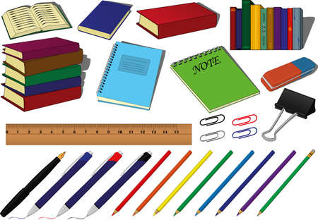 Back to school educational supplies vector set, school supplies such as books, notes, fountain or ball pen, gray or color pencils, paper clips, rubber, eraser and ruler Vectores