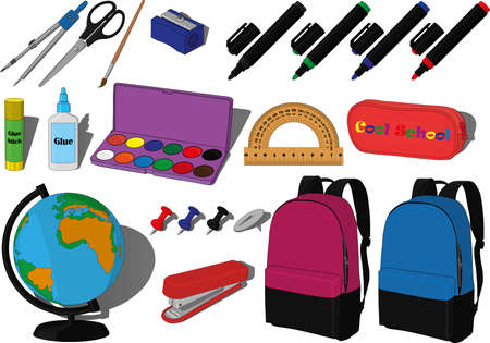 Day of knowledge, 1st of september collection pencil case, metall and plastic drawing pins, stapler, protractor, globe, backpack for boys and girls, paints, pencil sharpener, paper glue, scissors