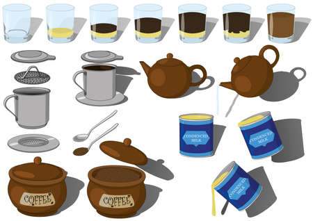 Vietnamese phin coffee step-by-step making vector set illustration. How to make hot ice cold coffee with recipe from Vietnam using coffee phin, glass, teapot, spoon, condenced milk and ground coffee