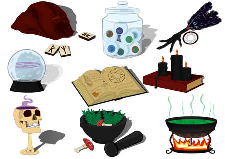 Witchcraft vector illustration set witchcraft items compilation cauldron on the fire, skull goblet, green and purple potions and poison