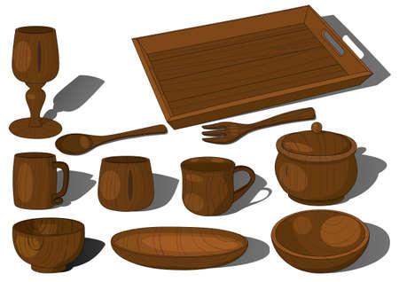 Wooden tableware vector cup dish fork spoon pot mug tray goblet handmade decor Vectores