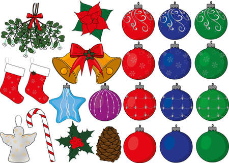 Christmas new year fir toys decorations vector x-mas happy new year merry christmas merry x-mas pictures of balls, bell, candy cane, poinsetia, fir-cone, holly angel, mistletoe, socks and star