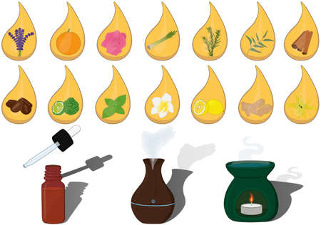 Essential oil aroma vector illustration set