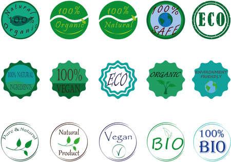 Natural organic bio eco icon set vector