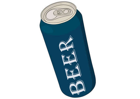 Blue colored beer can vector illustration with inscription. Aluminum mock up tin