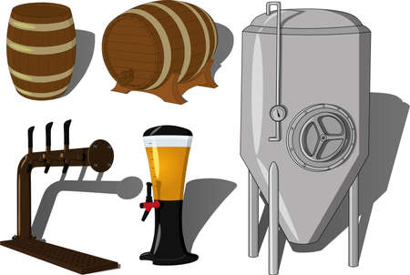 Brewing beer supplies vector set illustration including brewing machine, barrels and pub or bar supplies like a beer dispenser and beer tap