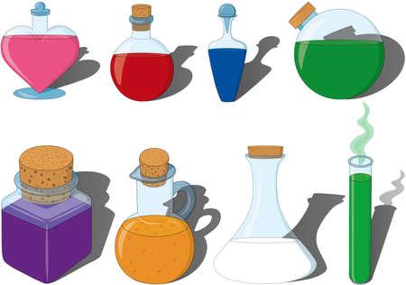 Magic potion and poison vector illustration set