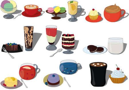 Vector illustration set of pairs sweet desserts and drinks