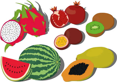 Set of whole and cutted tropical fruits vecor illustration