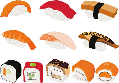 Sushi and roll different types and ingredients vector illustration set