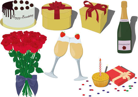 Birthday celebrating items collection vector illustration