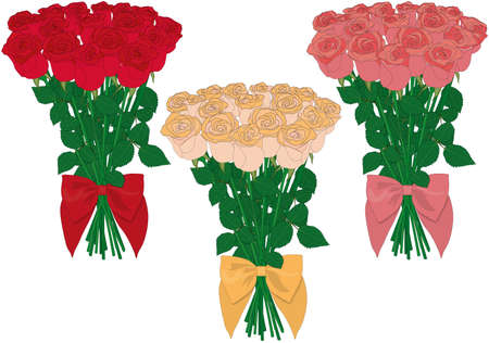 Three color types rose bouquets vector illustration