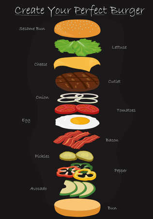 Create your perfect burger use your own recipe vector illustration